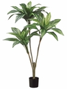 3.5' Artificial Dracaena Plant with 3 heads and 36 Leaves in Pot - Set of 4