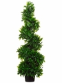 3' Artificial Italian Bayleaf Spiral Topiary in Pot - Set of 2
