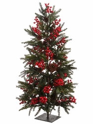 3' Christmas Pine Cone, Berry Artificial Pine Tree with Stand