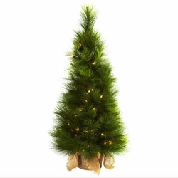 3� Christmas Tree w/Burlap Bag & Clear Lights