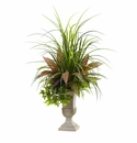 3� Mixed Grass, Dracena, Sage Ivy & Fern with Planter