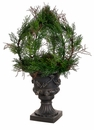 "30"" Artificial Cedar Ball Topiary in Black Plastic Urn"