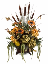 "30"" Artificial Elegant Rustic Hydrangea/Sunflower/Cattail Arrangement in Resin Container Rust Olive"