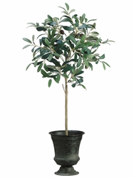 """30"""" Artificial Olive Topiary Plants in Tin Urn - Set of 2"""