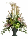 "30"" Artificial Pitcher Plant, Anthurium and Lily Flower Arrangement in Resin Pot"