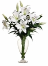 "30"" Artificial Stargazer LilyFlower Arrangement in Glass Vase with Liquid Illusion Water"