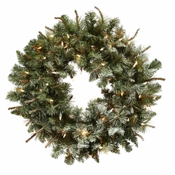 "30"" Lighted Frosted Pine Wreath"