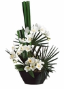 "31"" Artificial Phalaenopsis and Plumeria Arrangement in Bamboo Bowl"