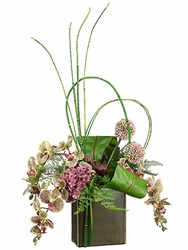 """31"""" Artificial Phalaenopsis Orchid Flowers, Bird Nest Fern, Bamboo Reeds in Cube Container"""