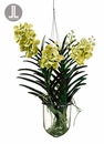 "31"" Artificial Vanda Orchid Hanging Plant in Glass Vase"
