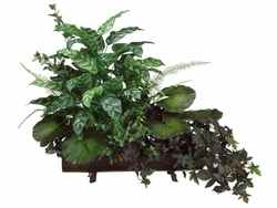 "31""  Silk Peacock Plant, Potato Vine Arrangement in Metal Tray"