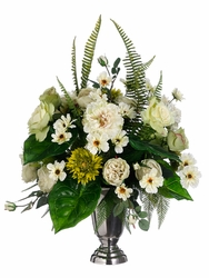 """32"""" Artificial Silk Rose, Peony, Daisy and Cosmo Flower Arrangement in Pedestal Vase"""