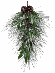 """32"""" Artificial  Silver Glittered Long Needle Pine Teardrop with White Willow Branch - Set of 2"""
