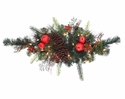 "32"" Artificial Terranea Holiday Pine Swag with Apples,Berries, Pine Cones & 35 Clear Lights - Set of 2"