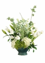 "32"" Silk Hydrangea, Tulip, Lily Bud Arrangement in Ceramic Pot"