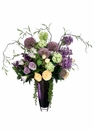 "33"" Artificial Rose's, Allium Flowrs, Lilac and Snowball Arrangement in Purple Glass Vase"