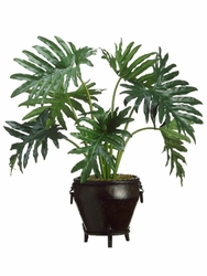 "33"" Artificial Selloum Philodendron Floor Plant in Metal Container"