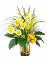 "33"" Silk Gladiolus Flowers, Tulip, Rose's and Bells of Ireland in Glass Vase Arrangement"