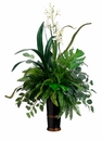 "34"" Artificial Fern/Fittonia/ Split Philodendron/Cymbidium Orchid in Ceramic Vase Silk Arrangement in Ceramic Vase"