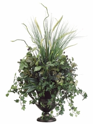 "34"" Artificial Grass, Ivy, Willow, Raspberry Silk Plant Arrangement"