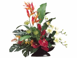 """34"""" Artificial Heliconia/Orchid/Protea Arrangement in Oval Container"""
