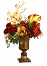 """34"""" Artificial Rose, Magnolia and Peony Silk Flower Arragement in Resin Urn"""