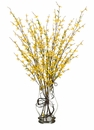 "35"" Artificial Forsythia Flowers in Glass Vase Arrangement"