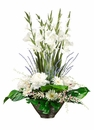 "35"" Artificial Gladiolus, Peony Silk Flowers, Dendrobium Orchids in Ceramic Bowl Arrangement"