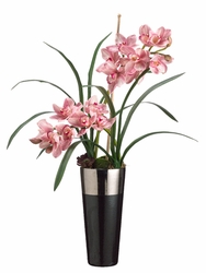 "35"" Artificial Silk Cymbidium Arrangement in Ceramic Container"