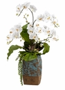 "35"" Phalaenopsis Silk Orchid Flowers, Echeveria Succulent and Philodendron Plant Arrangement in Terra Cotta Container"