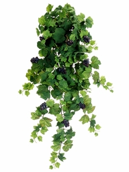 "36"" Artificial All Season Silk Grape Leaf Hanging Bush with12 stems and Grapes - Set of 6"