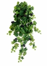 """36"""" Artificial All Season Silk Grape Leaf Hanging Bush with12 stems and Grapes - Set of 6"""