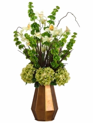 "36"" Artificial Bells of Ireland, Hydrangea Flowers, Cymbidium Orchids in  Bronze Tin Container"