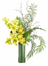 """36"""" Artificial Cymbidium Silk Orchid Flower, Mini Blossom and Curly Twig in Glass Vase Arrangement"""