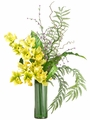 "36"" Artificial Cymbidium Silk Orchid Flower, Mini Blossom and Curly Twig in Glass Vase Arrangement"