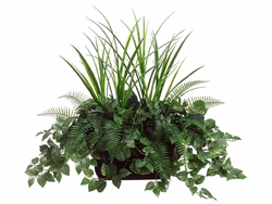 "36"" Artificial Grass, Silk Dieffenbachia and Pothos Plants in Ledge Box"