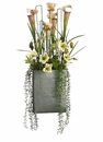 "36"" Artificial Pitcher Plant, Wild Lily Sprays and Helleborus Arrangement in Rectangular Container"