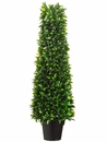 "36"" Artificial Plastic Italian Bay Leaf Cone Topiary with 2120 Leaves in Pot"
