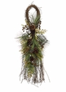 "36"" Artificial Winter Birdcage, Birdnest and Pine Cone Door Swag - Set of 2"