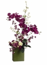 "36"" Silk Phalaenopsis Flowers, Oncidium Orchids and Roses Arranged in Ceramic Container"