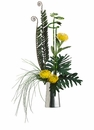 "37"" Artificial Needle Protea Flower, Fern Plant and Grass in Silver Container"