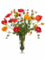 "37"" Large Poppy Silk Flower Arrangement in Glass Vase"