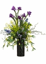 "38"" Silk Iris, Artificial Calla Lily and Hypericum Arrangement in Ceramic Vase"