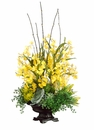 "39"" Artificial Orchid, Protea and Echeveria Cactus Arrangement in Ceramic Pot"