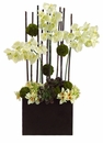 """39"""" Silk Phalaenopsis and Cymbidium Orchids, Artificial Moss Ball Arrangement in Container"""