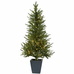 4.5' Christmas Tree w/Clear Lights & Decorative Planter