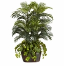 4.5' Double Areca in Decorative Vase & Pothos Silk Plant