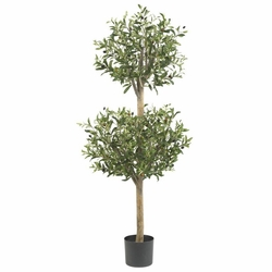 4.5' Olive Double Topiary Silk Tree