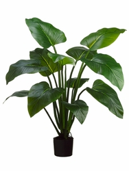 4' Artificial EVA Curcuma Plant with 12 Leaves in Plastic Pot - Set of 2