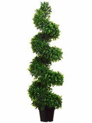 4' Artificial Jade Spiral Topiary Plant in Pot-Set of 2
